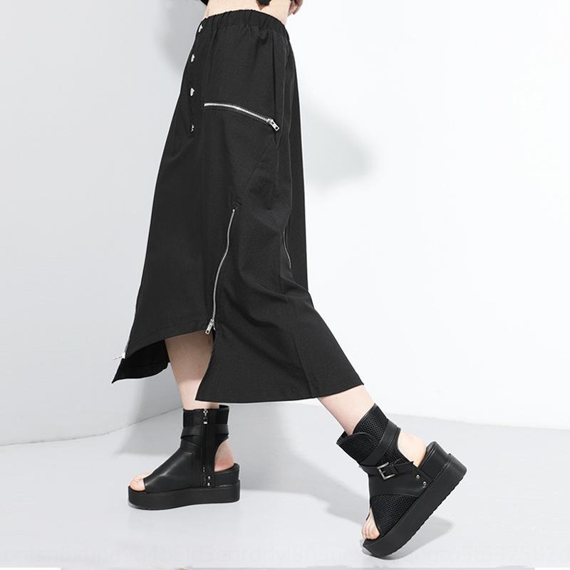 XNeq6 elástica verano 2020 nueva cintura decorativa falda de moda oscura serie personalizado grande de la cremallera de la cremallera del tamaño falda irregular 9991