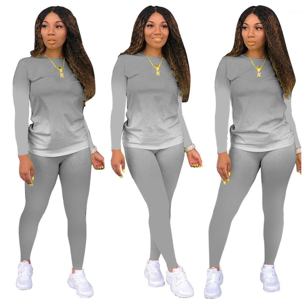 Рукав градиент цвета сексуальных женщин 2PCS Outfit конструктора костюмы Женская одежда 2 Piece Set Длинные