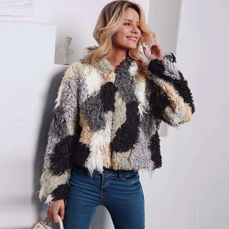 Escudo del bloque del color frente abierto cortocircuito mullido Cardigan chaqueta invierno Caqui manera de las mujeres del invierno del otoño de imitación de piel con capucha