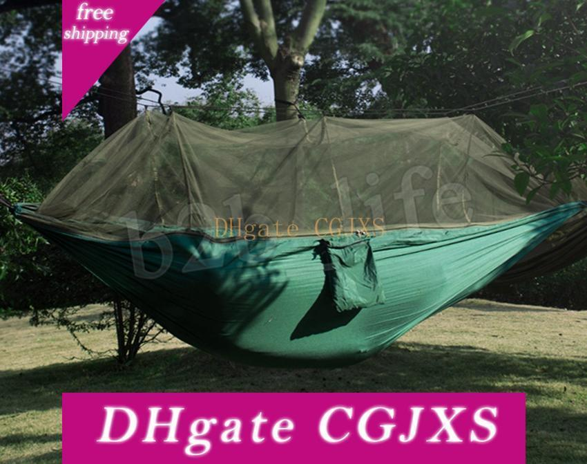 Ultralight High Strength Parachute Swing Hammock Hunting With Mosquito Net Travel Double Person Hamak For Camping Outdoor Mma1948 -5