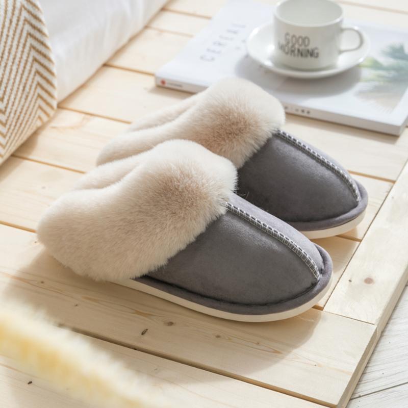 Зимние женские Тапочки Мода Крытый Спальня Пара Теплые ботинки вскользь Мелкий рот низкий каблук плоский Номера Слип Тапочки
