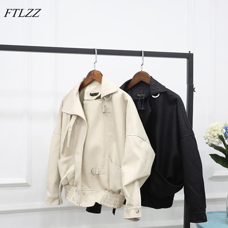 FTLZZ New Street Fashion Faux femmes Veste en cuir Casual vrac Batwing Lavé Pu manteau en cuir Vestes motard T200831