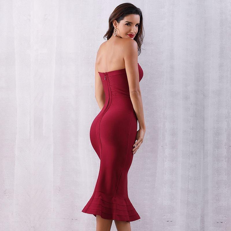 pequena Outono vestido novo slim-fit strapless elegante GC2TZ vestido pequeno slim-fit fishtail