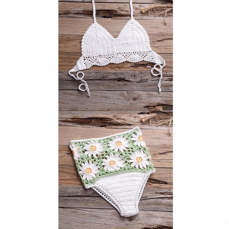 zyfn3 kadınlar için JidMY 2020 yüksek bel pantolon mayo bikini mayo el yapımı örme bikini askısı plaj bölünmüş püskül