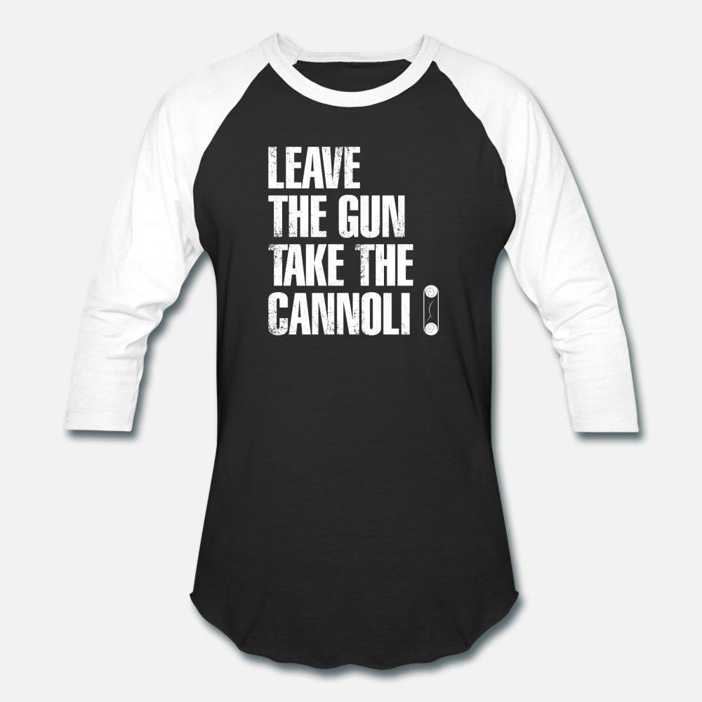 Deje el arma toman el cannoli italiano divertidos de la camiseta de los hombres caballeros corto manga del cuello de equipo personalizado lindo de la camisa ocasional del verano Cartas