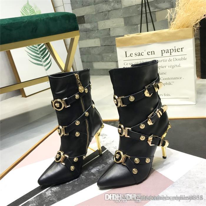 2020 на высоких каблуках женские сапоги с металлическими элементами, Последние сапоги Spiky лодыжки с шипованной комплектациях Тонкий секси туфли с коробкой 35-41