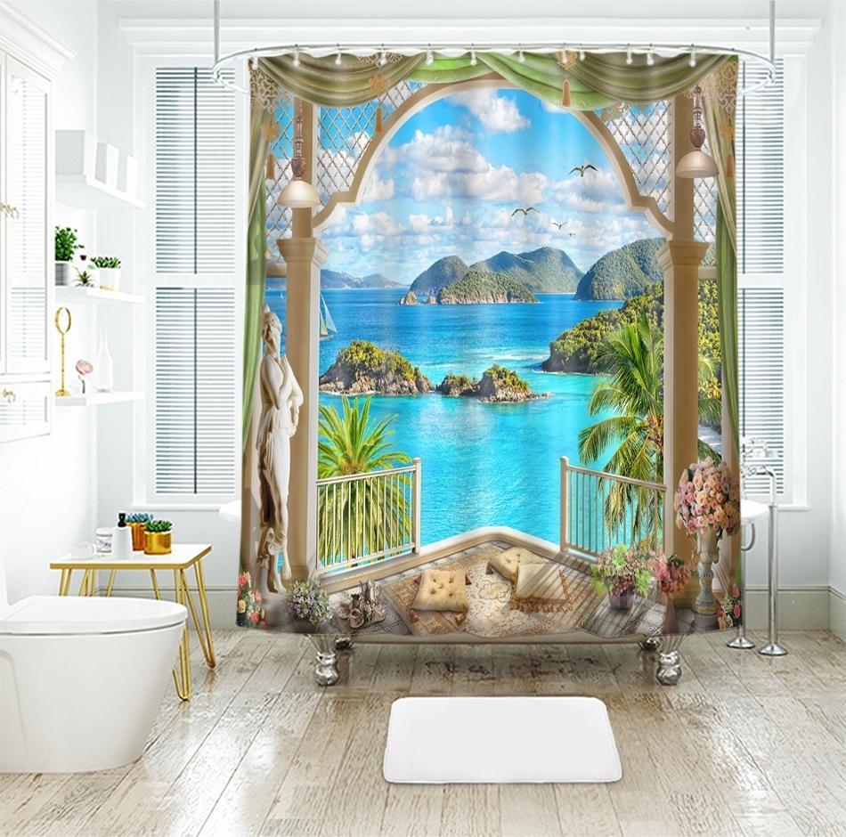 3d Vue sur Mer Motif Poliban Coucher de soleil Glow extérieur de la fenêtre de bain rideau imperméable Thicken épaissie bain rideau Y200108