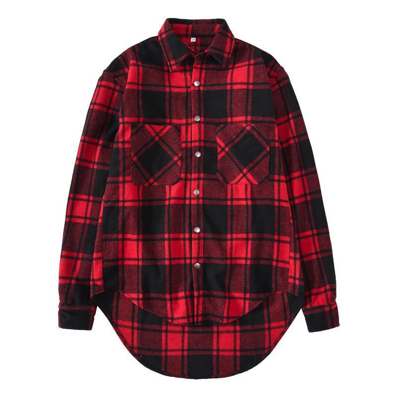 20FW hombre del diseñador de moda camisas de tela escocesa roja Impreso asimétrico de manga larga Tun-abajo a la camisa de Hip Hop para hombre camisas
