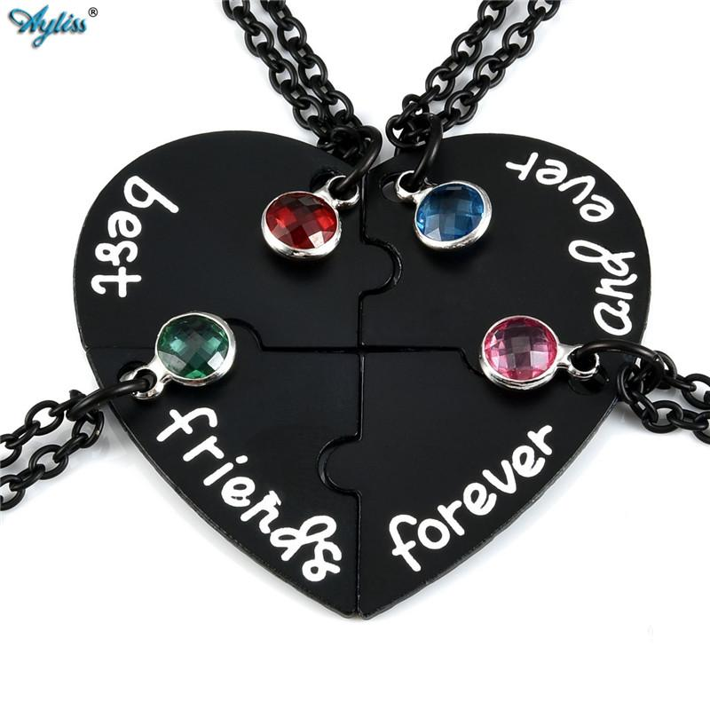 Ayliss Coeur Puzzle Pieces Colliers Pendentif Set strass alliage Best Friends Forever and Ever BFF Puzzles Amitié Collier