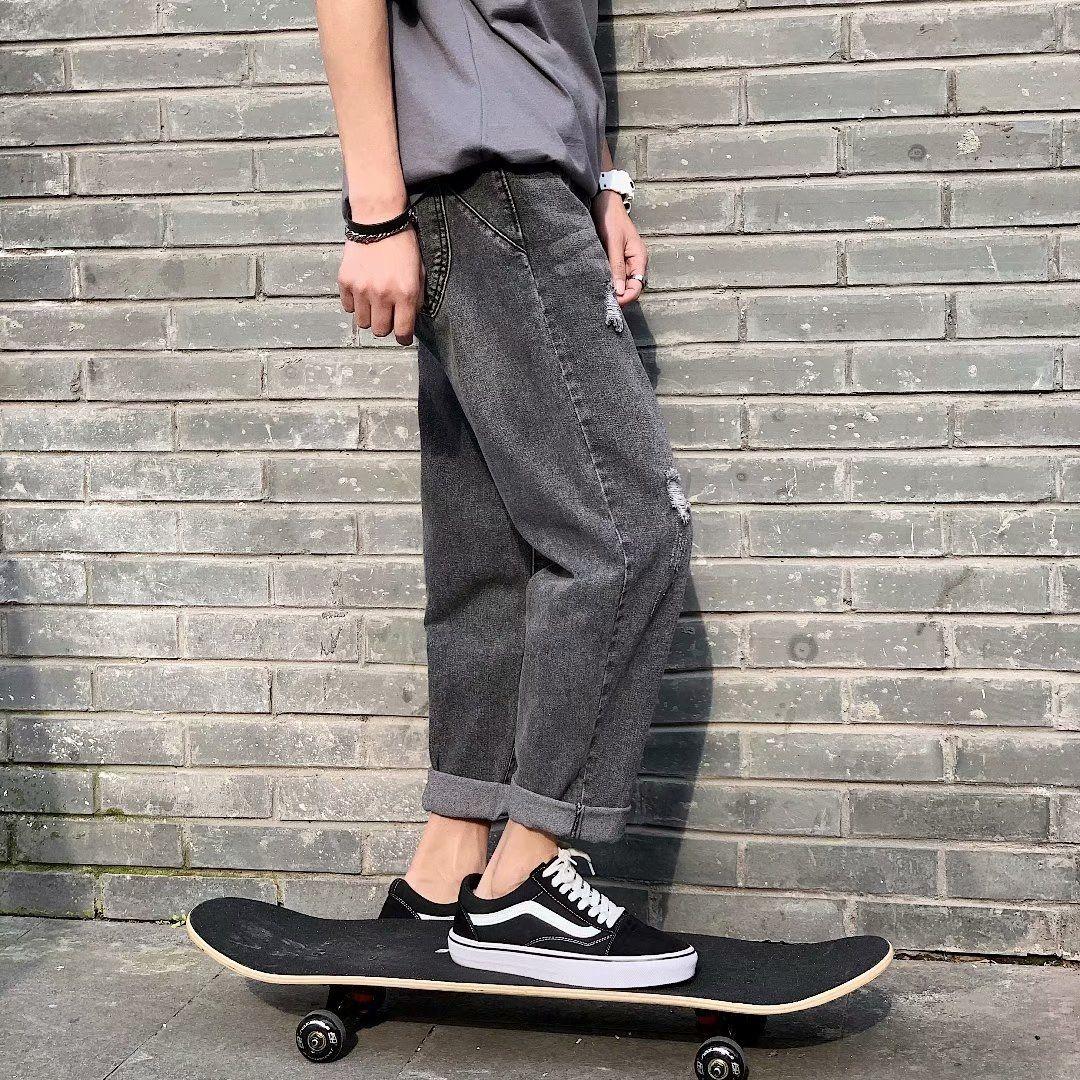kmHOT Yaz ince İnternet ünlü delik delici Kore gMWa genç dokuz maddelik düz şık ve erkek ins kot pantolon pantolon kot ve