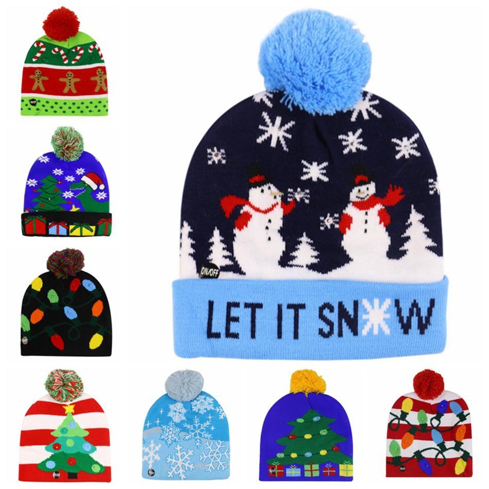 LED ضوء قبعة عيد الميلاد قبعة الشتاء الدافئ محبوك سترة تضيء قبعة السنة الجديدة عيد الميلاد مضيئة اللمعان كاب الكروشيه 300PCS LJJP325-2