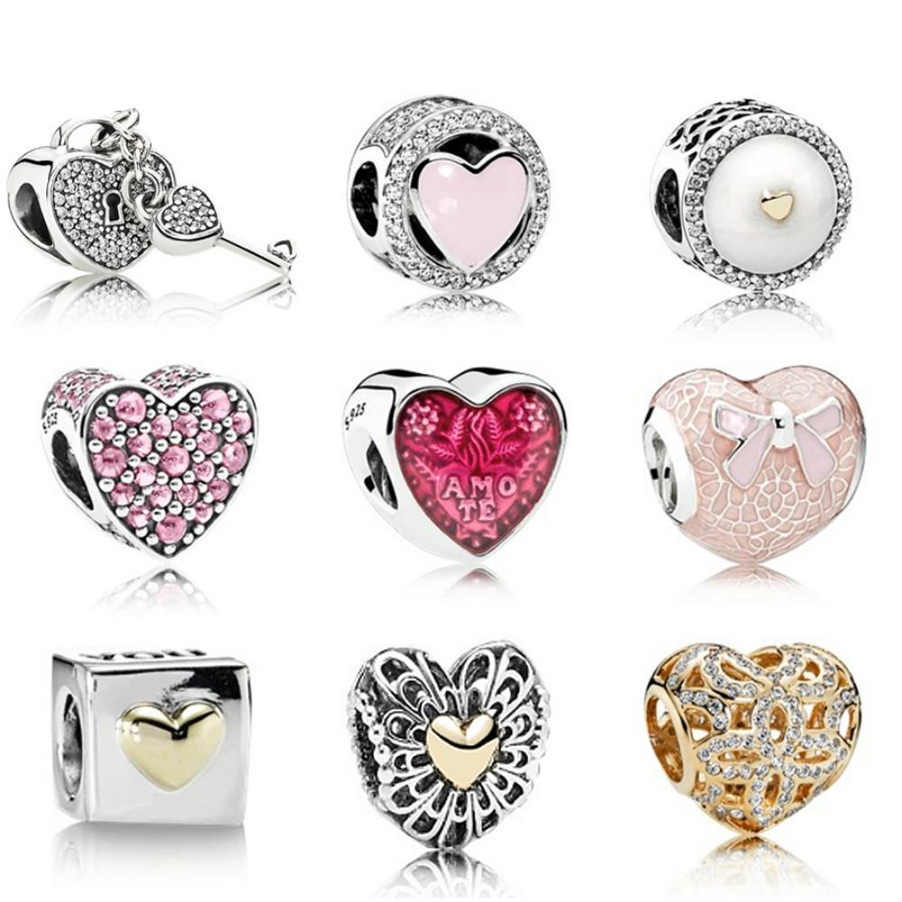 100% Véritable 925 perles de verrouillage coeur d'argent sterling 791429CZ 792034CZ 792073EN23 792069PCZ 792048EN117 792044ENMX 790200 791275 750837CZ cadeaux