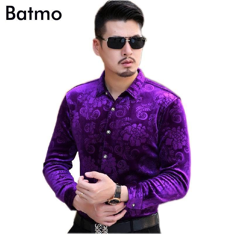 2020 nouvelle arrivée imprimé chemise hommes violet chaud Cachemire occasionnels, les hommes de chemise épaisse de mode, 4 couleurs taille plus M, L, XL, XXL, 3XL, 4XL