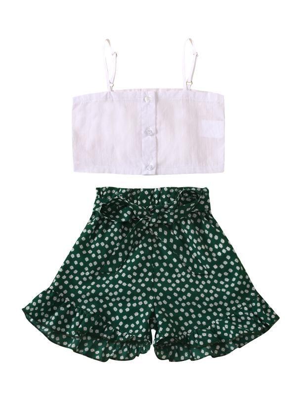 Moda bambini vestito dei capretti copre gli insiemi Summer Girl Set maglia bianca + Shorts per i bambini