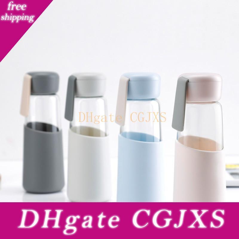 Garrafa de água de vidro capa de silicone esporte garrafa de água esportiva de café da água Ins Viagem vidro Tumbler garrafas 400ml