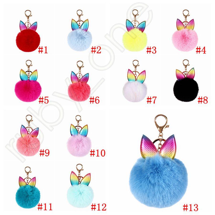 Creative Rabbit Ear Keychain Soft Fur Ball Lovely Gold Metal Key Chains Pom Pom Plush Keychains Bag Car Keyring Party Favor RRA3627