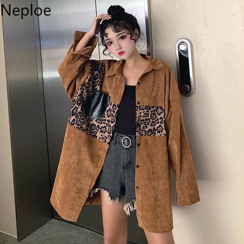Neploe Kadife Boy Bluz Leopatchwork Patchwork Nedensel Kadınlar Gömlek 2020 Bahar Kore Tek Breasted blusas Coat 59186 P2Yq #