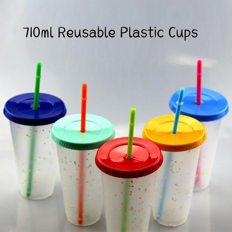 뚜껑 스트로 710ml 재사용 PP 커피 잔 무지개 색 물이 찬 마법 텀블러 음료 병 변경과 반짝이 5PCS 부지 24온스 플라스틱 컵