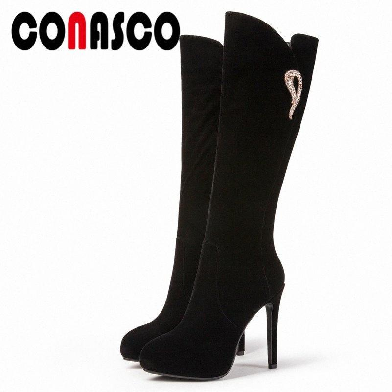 CONASCO neue Frauen kniehohe Stiefel Herbst-Winter-12CM Super High Heels Knight Boots Zipper warme Schneeschuhe Frau Strass Pumps KIDP #