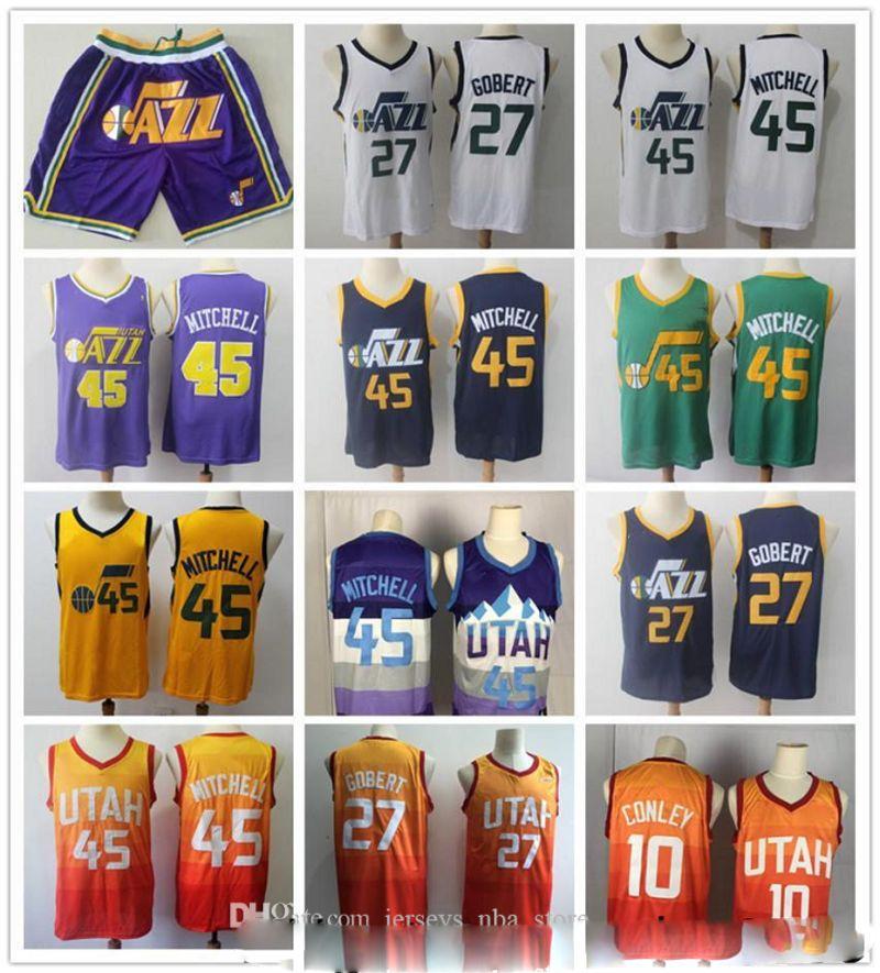 Mens Retroceso Donovan 45 Mitchell RudyUtah 27 Gobert Mike Conley 10 Pantalones cortos de baloncestoJazz Baloncesto Jersey púrpura verde