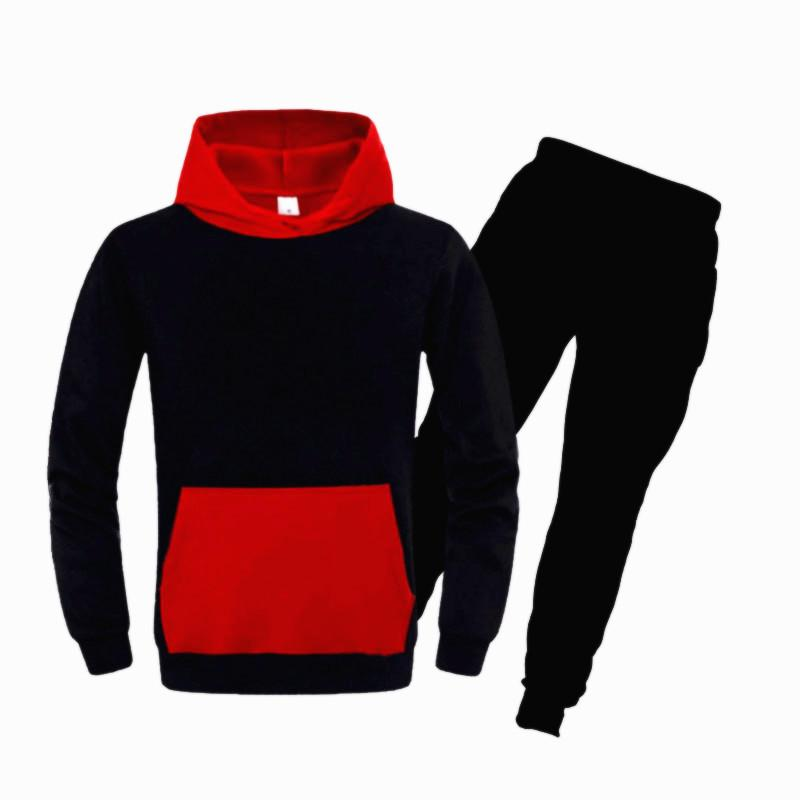 Tracksuit Men Hoodies Loose Casual Sports Color Matching Pocket color Hooded Pullover Sweatshirt Man Large Size S-3XL