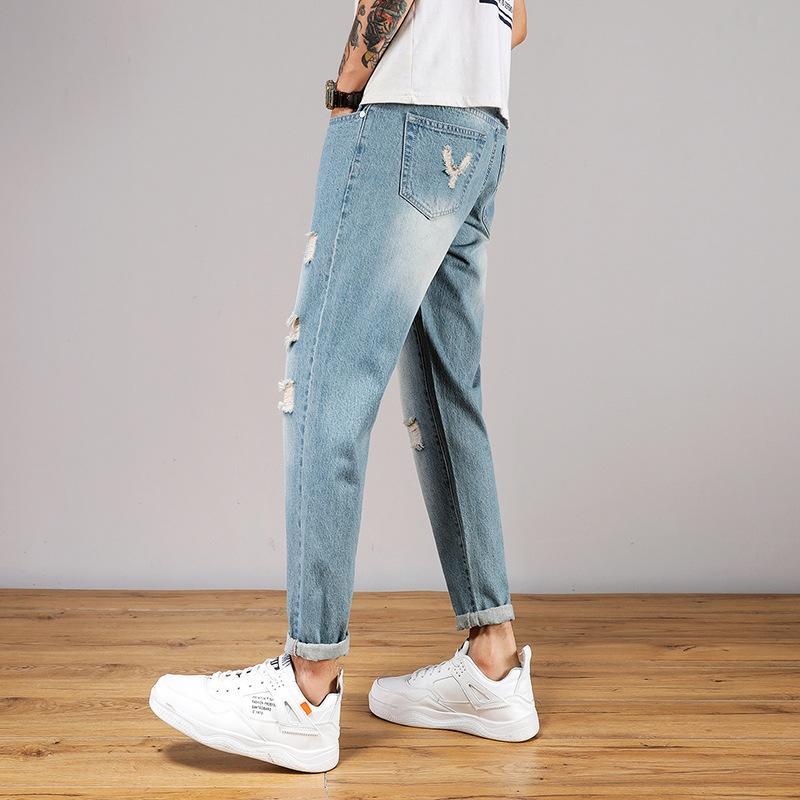 n9Qt7 брюки модный корейский стиль мужчины все-матч щиколоток брюки джинсы мужские и джинсы с рыхлой 2020 TUlWj нового модного бренда