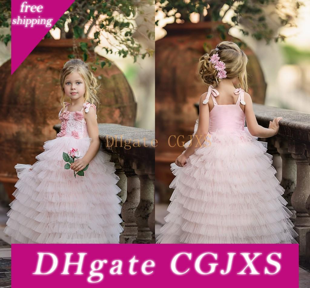 2018 del vestito dalla torta bella rosa delle ragazze di fiore abiti spalline Tiered Tulle prima comunione partito dei vestiti da principessa bambini Abiti su