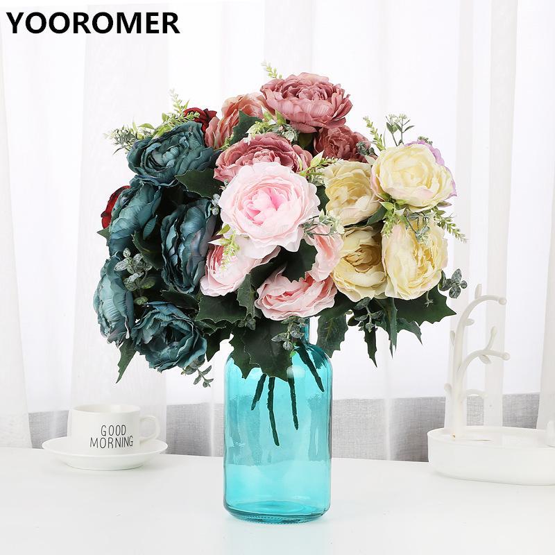 YOOROMER 5 flores artificiales flor del Peony de la decoración del hogar falsa flor del partido de novia de seda decoración de la boda ramo
