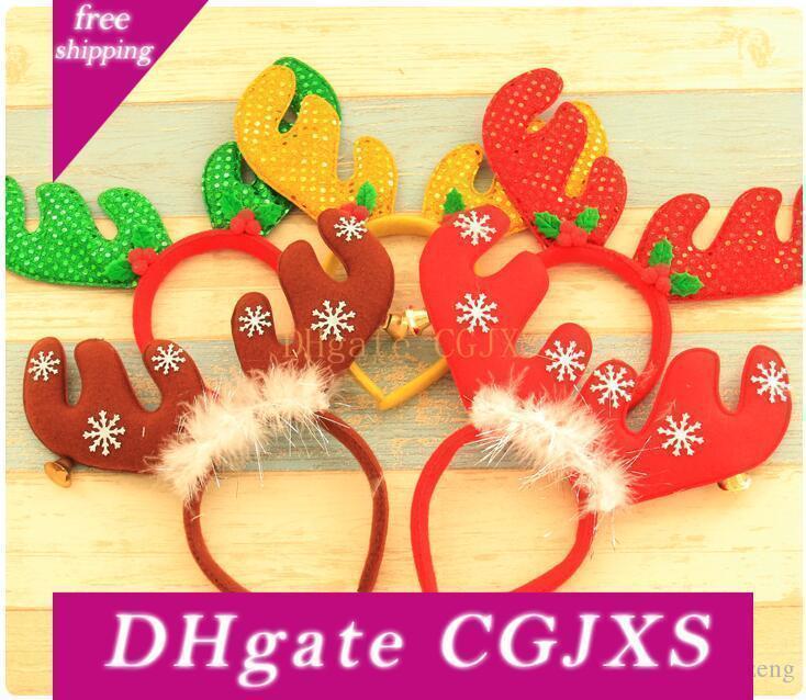 New Red Weihnachten Stirnband mit Bell Snowflake Elk Kopfbedeckung für Frauen-Mädchen-Weihnachtsfest-Kleid-Haar-Dekoration
