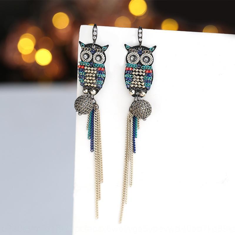 uoKfn 925 silver needle elegant owl and earrings women's long tassel creative earrings all-match internet celebrity ear hook