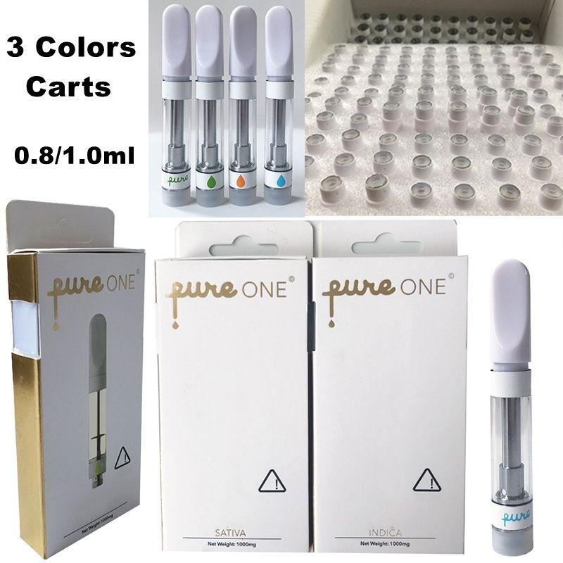 Pure One Vape Картриджи Vape Pen Pureone 0,8 мл Стеклокерамика Tank густое масло Dab Pen Press в мундштук Электронные сигареты комплекты 510 Аккумулятор разряжен