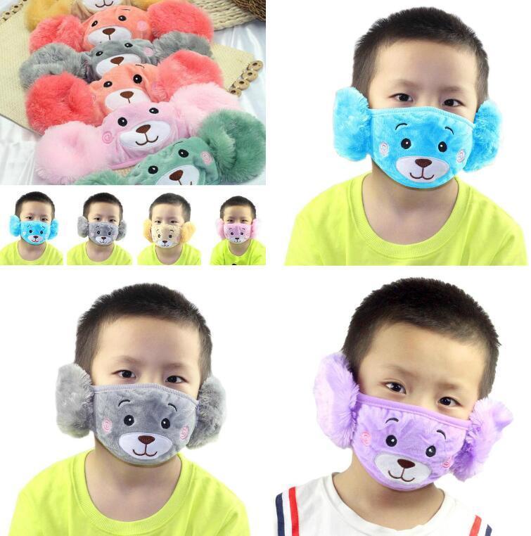 Дети Рот маски Защитные маски для лица для детей Теплая зима Хлопок Mouth Маски Сложенные дышащий анти пыли Street Маска 2 В 1 Ear МАСКИ