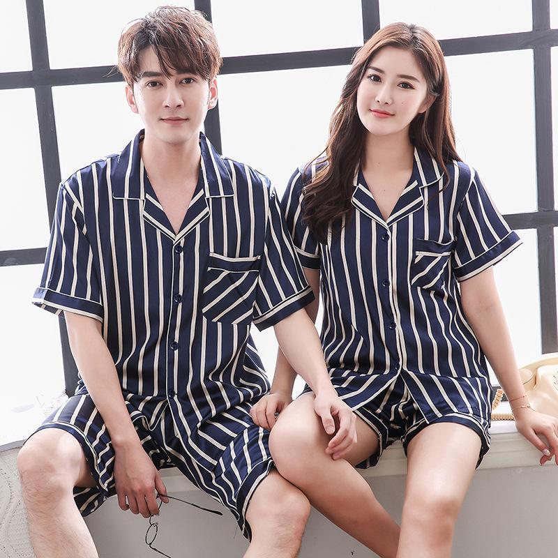Fashion Lovers Sleepwear Striped Satin Home Clothes Couple Rayon Pajama Sleep Set Summer Short Sleeve Night Wear 2PCS Pyjama T200813