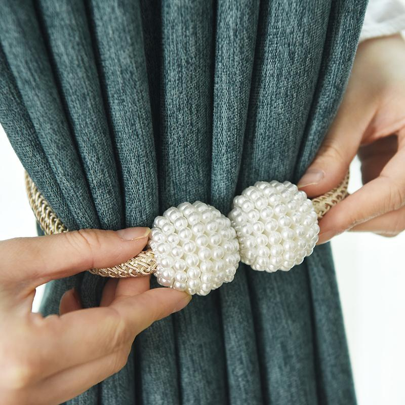 1x perle embrasses clip de rideau magnétique Clips Embrasse Boucle Hanging boule Boucle cravate Sheer Rideaux Accessoires Décoration
