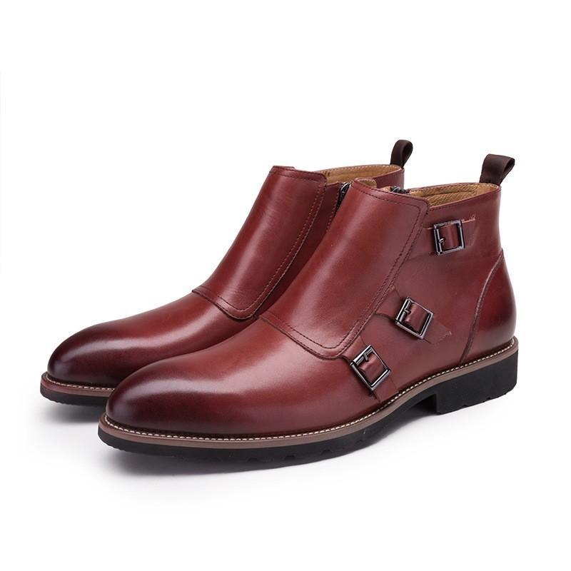 Марка Мода Шитье Пряжка натуральная кожа ботинки людей вскользь острым носом Ботильоны для мужчин Высокое качество Обувь New