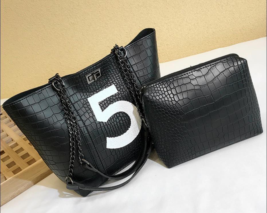 Kadınların Yüksek Kalite Çanta Messenger Çanta Büyük Bez Bayan El Çantası bolsas için 2019 Yeni Timsah Pu Deri Omuz Çantaları