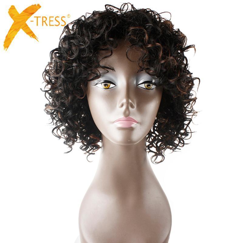 X-TRESS Afro Kinky Short Curly synthétique de perruques avec Bangs naturel noir haute température fibre africaine Hairstyle pour les femmes
