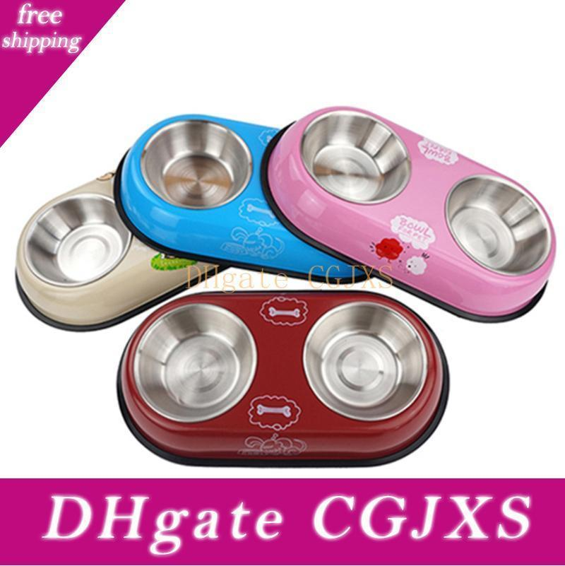 Pet Dog Cat Bowls Puppy Water Dish Travel Feeder Bowls Pet Accessories Stainless Steel