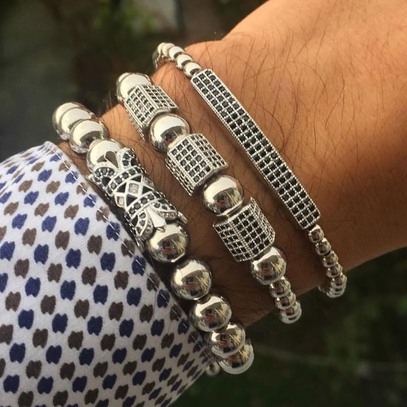 2020 Charm Bracelet Nouveau Mode Hommes Femmes Long Tube Cube Pava Zircon Perles Bracelet pour hommes Bijoux réglable