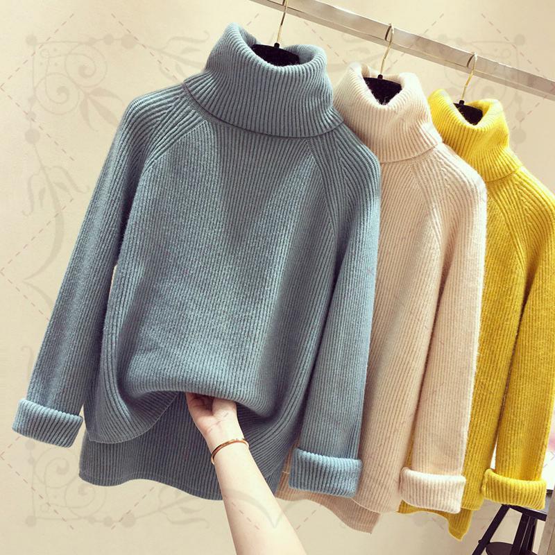 Casual Mazefeng mujeres que hacen punto del suéter de manga larga de cuello alto flojo femenino Moda invierno de las señoras suéter que basa la camisa gruesa