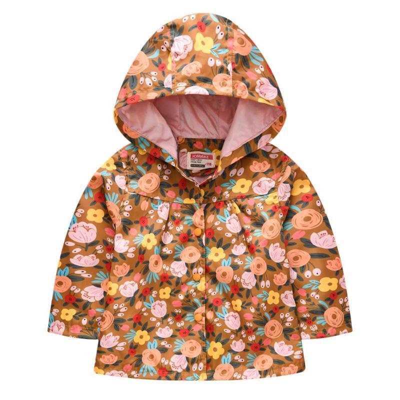 Bebé niña chaqueta cazadora cortaviento 2020 nueva flor al viento y la chaqueta a prueba de lluvia impresión de la moda con capucha coa fila chica