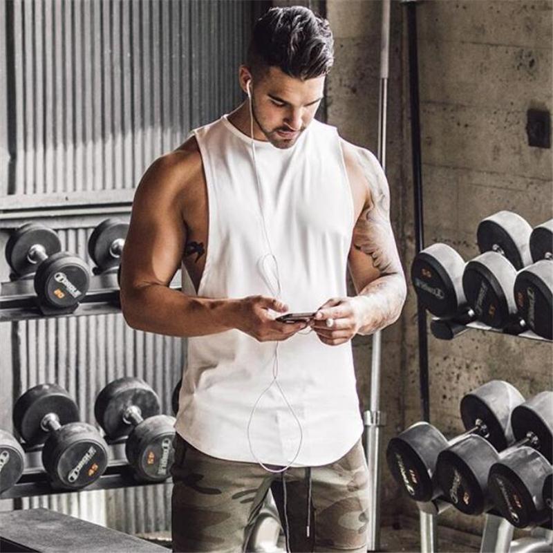 Marca gimnasios Stringer, ropa culturismo sin mangas de los hombres sin mangas singlete aptitud camisa de algodón del chaleco del músculo sólido Undershirt