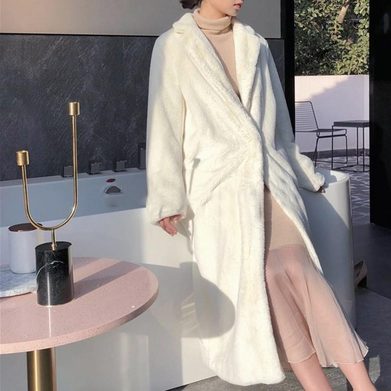 2020 New Brand Rex Fur Long Overcoats Qualities Long Sleeve Single Breasted Office Ladies White Soft Slim Trench Coats