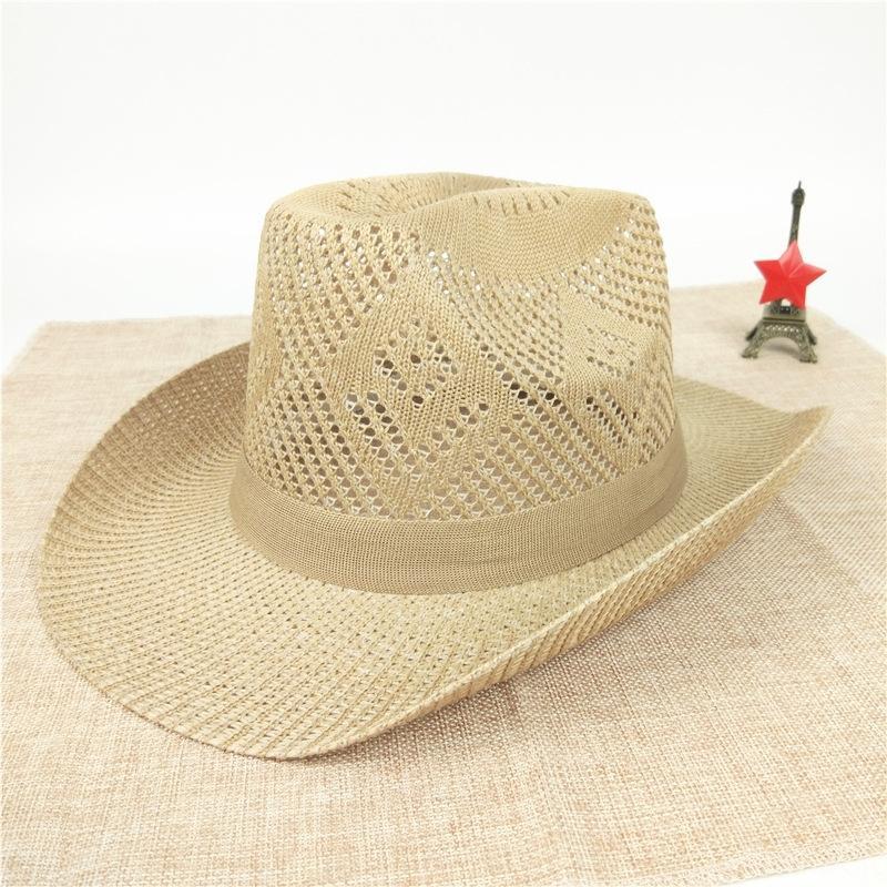 X0BpK Big estate del cowboy degli uomini di paglia occidentale del cowboy spiaggia del cappello di protezione del sole della paglia degli uomini cappello del sole delle donne di
