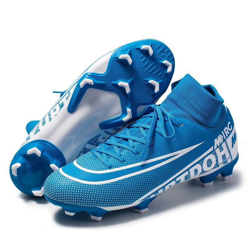 새로운 축구 신발 남성 통기성 야외 높은 탑 축구 부츠 잔디 축구 클리트 어린이 AG 축구 신발 chuteira의 futebo의 CX200825