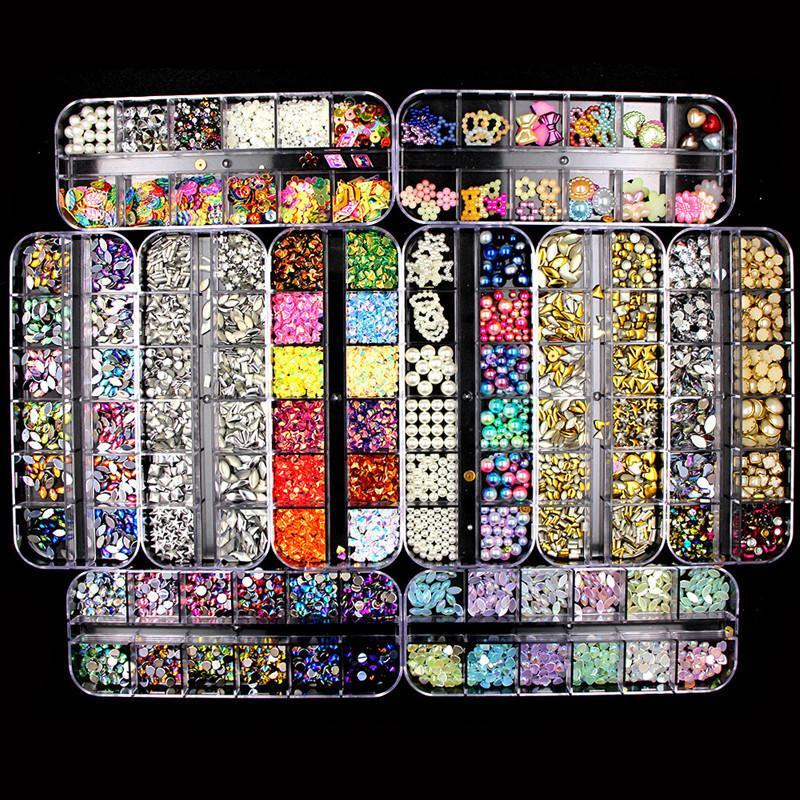 Nail Art Strass 3D pietre di cristallo gemme della perla del chiodo di DIY di arte della decorazione Oro Argento diamante della lega Rivet fai da te Paillettes Nail Strass