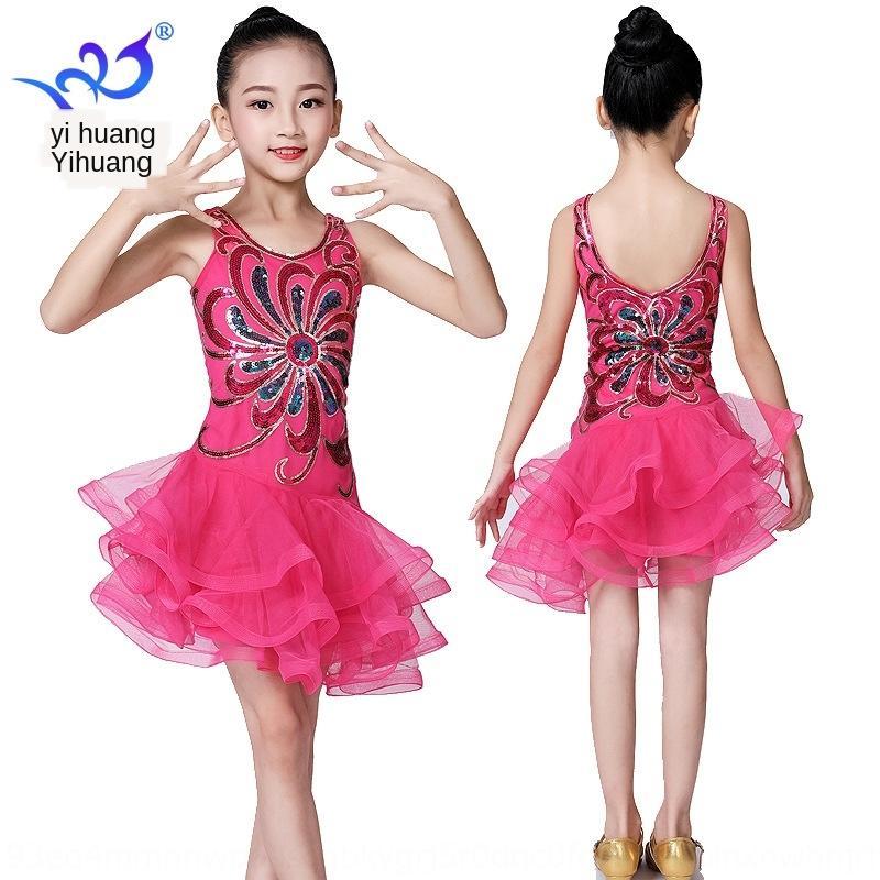 Çocuk Latin dans sahnesi çocuk Latince payetli gazlı sahne performansı Biçimsel elbise Pullarda elbise takım elbise rekabet takım