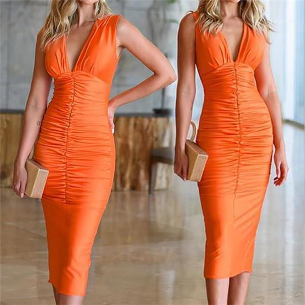 İnce BODYCON Elbiseler Kadınlar Partisi Kulübü Elbiseler Seksi V Yaka Dantelli Elbise Moda Katı Renk Kolsuz