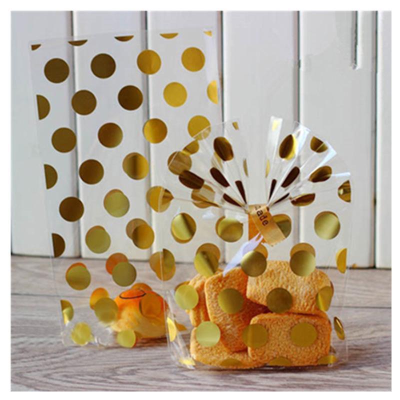 25pcs Beyaz Altın Nokta Şeffaf Plastik Poşet Şeker Kurabiye Hediye Çanta OPP doğum günü partisi Şeker Kese Hediye Kutusu Packaging
