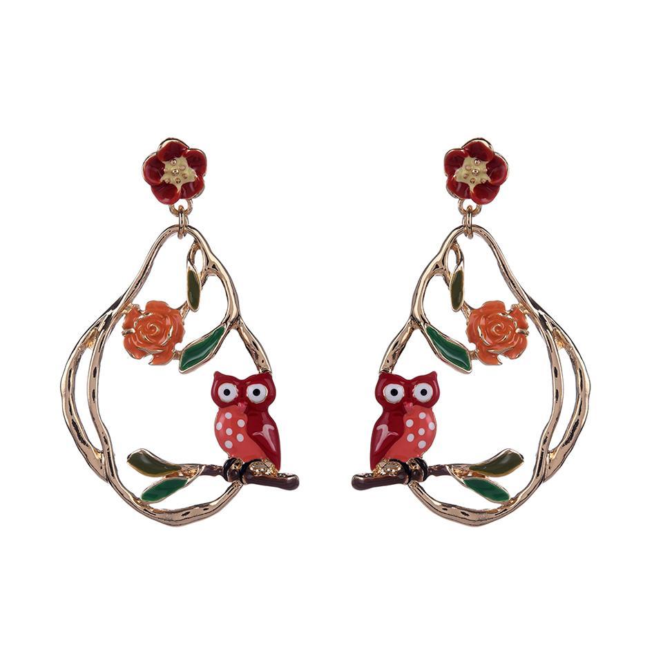 Women Drop Earring Hanging Flowers Bird Owl Statement Jewelry Summer Bohemian Long Big Gold Tassel Earrings for Women Lady Party